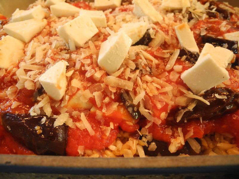 Eggplant, Mozzarella and Saffron Rice Bake With Slow Cooked Shoulder ...